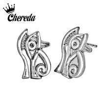 Chereda Vintage Eye Shape Stud Earring Men Women Slavic Earrings Bronze Male Ear Studs Party Bar Jewelry