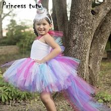 princess tutu rainbow little pony dresses cartoon unicorn cosplay costume girls dress kids halloween birthday party dresses w058