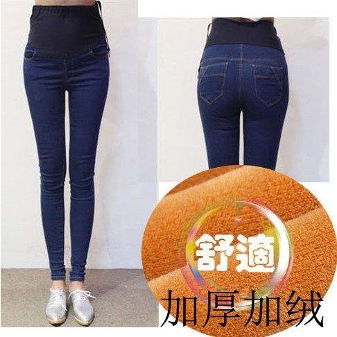 Winter Elastic Waist Warm Pencil Pants Pregnancy Skinny Jeans Pregnant Women Clothes Maternity Pregnancy Jeans Retro High Waist stylish women s high waist camouflage color skinny ninth pants