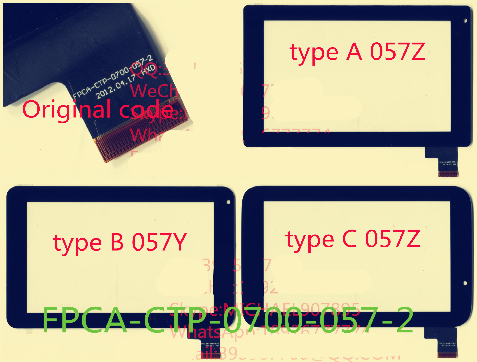 Black 7 Inch for 3Q Qoo! q-pad QS0730C tablet pc capacitive touch screen glass digitizer panel P/N FPCA-CTP-0700-057-2