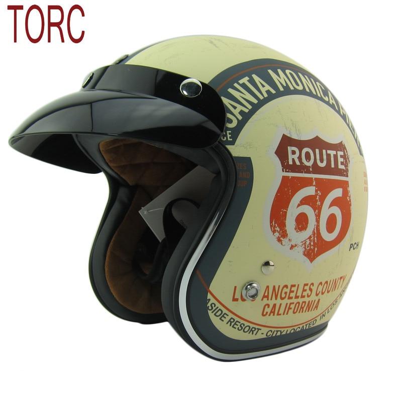 цена на New arrival brand TORC motorcycle helmet Retro scooter helmet Vintage Route 66 open face helmet Halley half helmet moto casco
