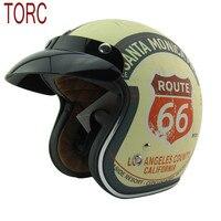 New Arrival Brand TORC Motorcycle Helmet Retro Scooter Helmet Vintage Route 66 Open Face Helmet Halley