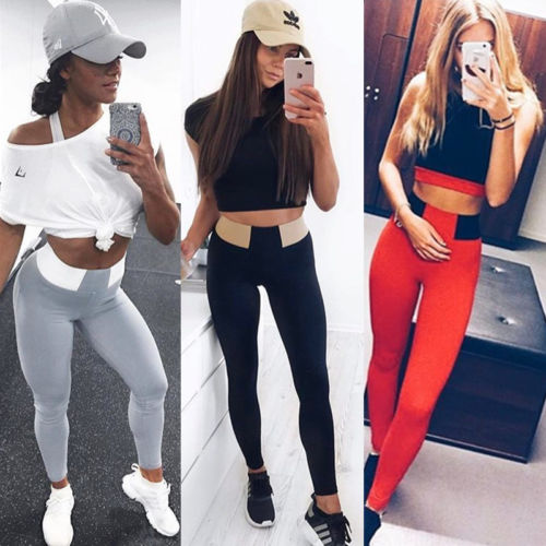 hirigin 2017 New Fashion Color   Leggings   Patchwork Ankle Length High Waist Bodycon Casual Women Gray Red Black
