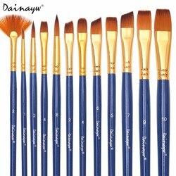 Dainayw 12 шт./компл. нейлоновые кисти для краски волос различной формы кисть для акварельной живописи для художника товары для профессионально...