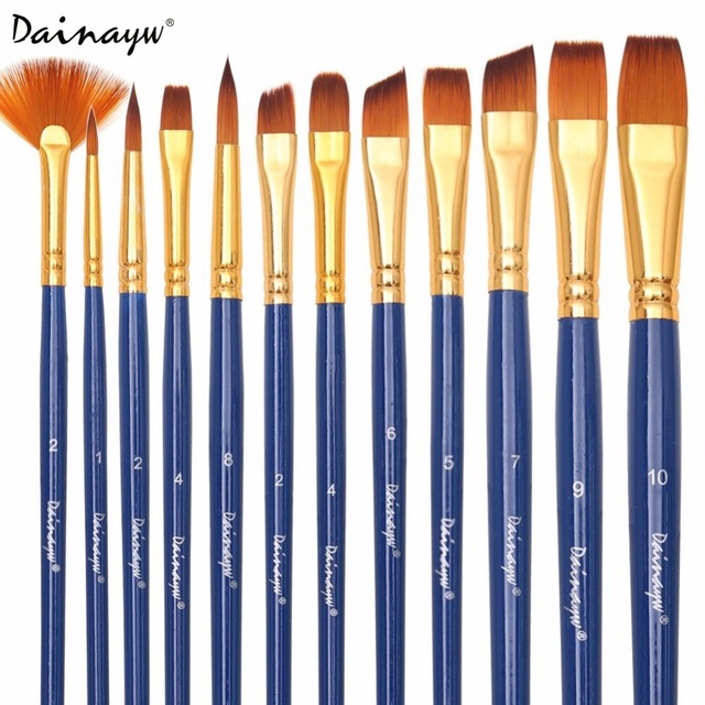 Dainayw 12pcs set different shape nylon hair paint brushes for Types of acrylic paint