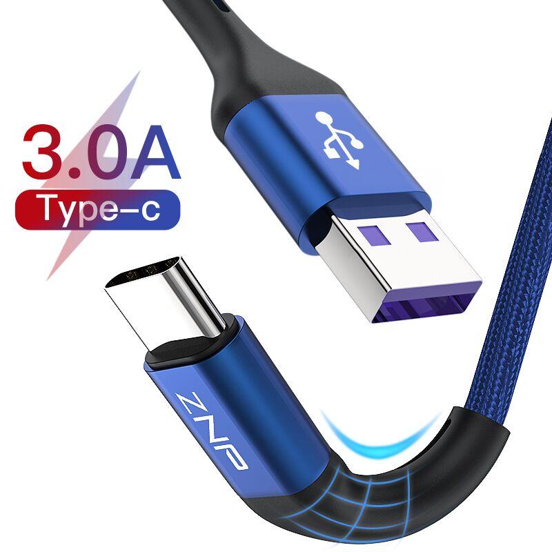 USB Type-C кабель быстрой зарядки ZNP, для Samsung S10, S9, S8, Huawei P30 Pro, зарядный провод USB для мобильного телефона