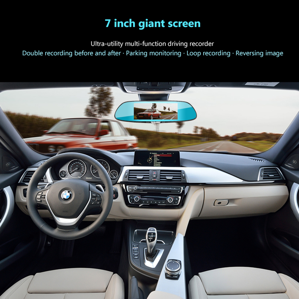 Image 4 - AOSHIKE 7 Inch Rearview Mirror Driving Recorder 1080P High Definition Night Vision Double Recording Reverse Driving  Car DVR-in DVR/Dash Camera from Automobiles & Motorcycles
