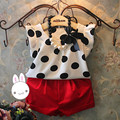 Girls Set 2016 New Dot T shirt+Red pants 2pcs  Kids Clothes fashion girls clothes set