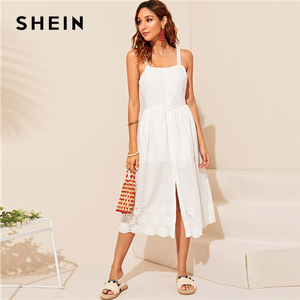 Image 4 - SHEIN White Embroidered Eyelet Hem Button Up Summer Boho Dress Women Straps Empire Dress Solid Fit and Flare Long Cami Dresses