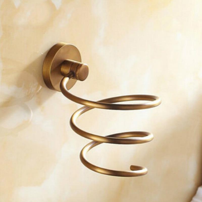 Античный из твердой латуни покрытие волос подставка для сушилки золото полированный хром Настенные Аксессуары для ванной rt25