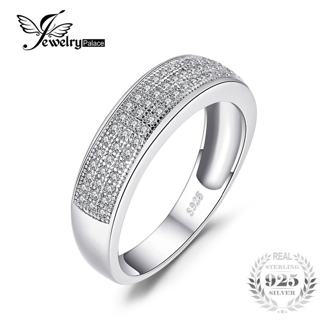 JewelryPalace Cubic Zirconia Anniversary Channel Set Wedding Band Eternity Ring 925 Sterling Silver WqGrW