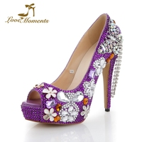 Wholesale Price 2018 Fashion Lady Shoes Summer Sexy Peep Toe Pumps Purple Color Rhinestone Wedding Party Dress Shoes Size 41