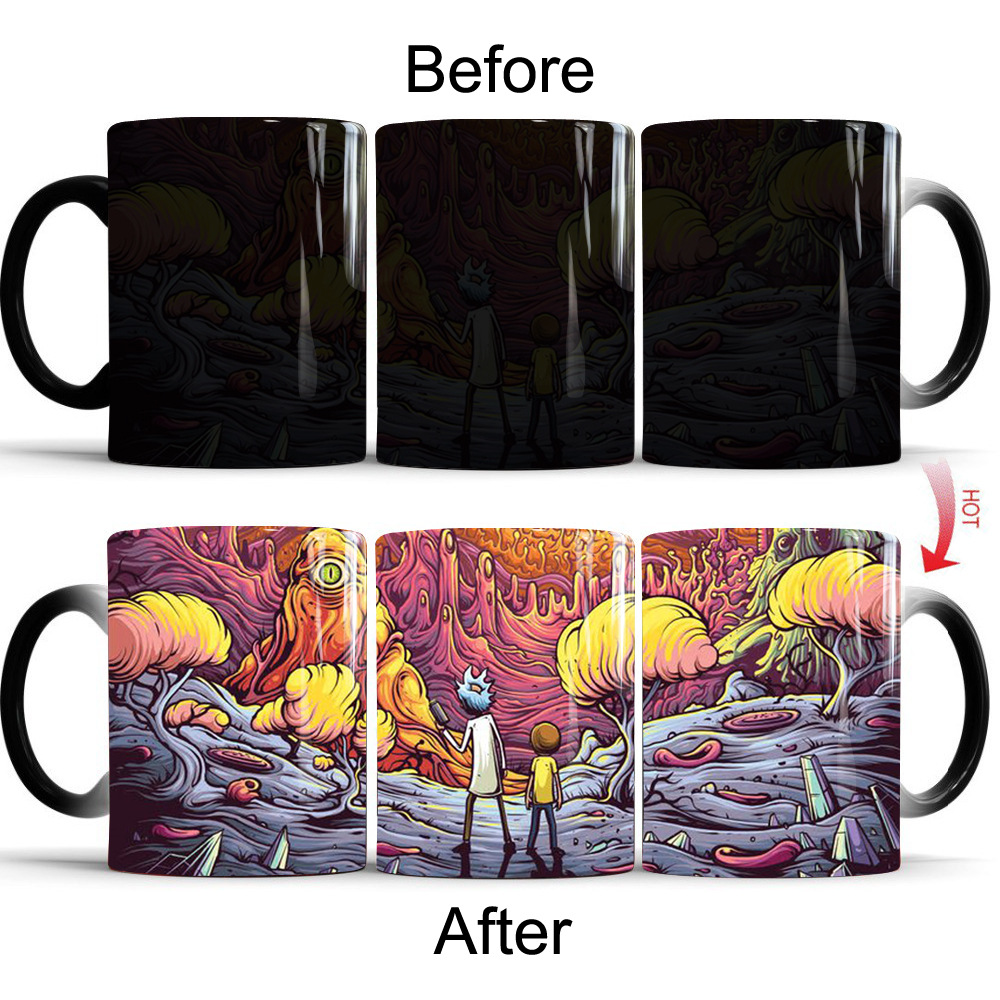 Rick and Morty Mugs Cartoon Magic Office Mug Color Changing Sensitive Ceramic Coffee Tea Mug Cup for Best Friend Gift Drop Ship