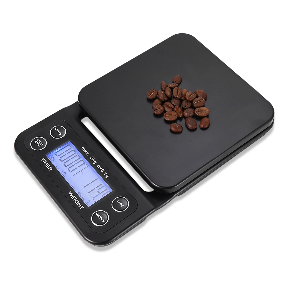 Digital Kitchen Food Coffee Weighing Scale + Timer With Back-lit LCD Display Green Backlight