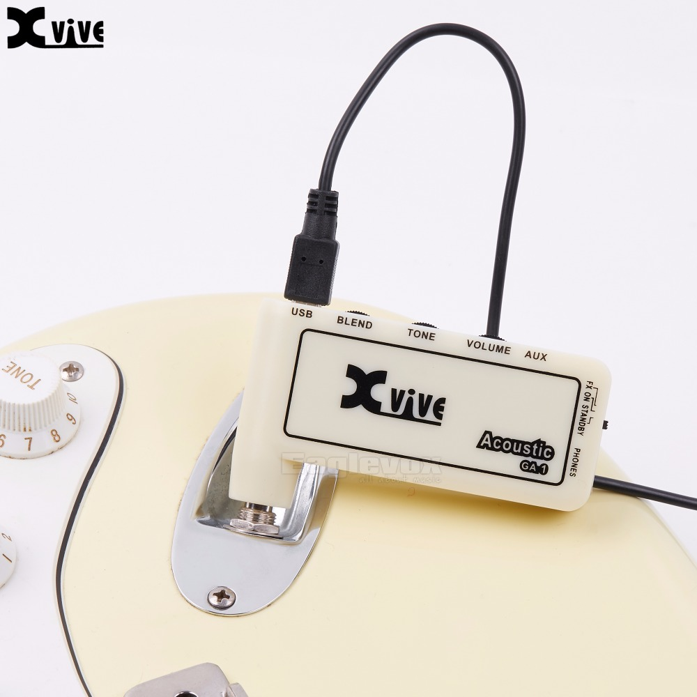 Lightweight Headphone Amp Portable Electric Guitar Amplifier Xvive GA-1 Acoustic Guitar Micro Amp Gain Tone Volume Controls mini micro battery powered portable guitar amp classic marshall guitar portable and lightweight