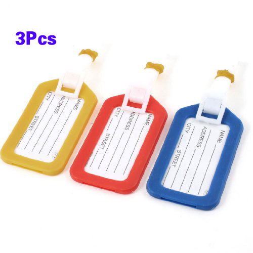 3 Pcs Address Information Hard Plastic Bags Backpack Luggage Tag in 3 Colors