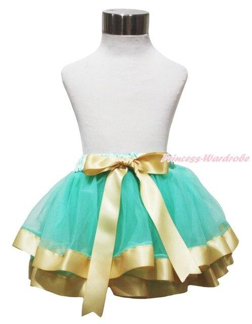 Aqua Blue Goldenrod Gold Khaki Trimmed Tutu Dance Skirt Baby Girls Skirt NB-8Y