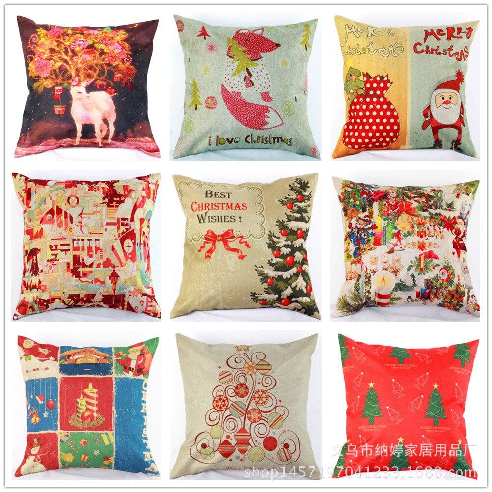 Amazon aliexpress eBay hot car on Christmas sofa linen pillow