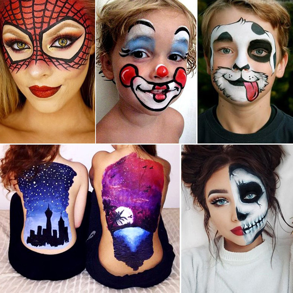 Halloween Makeup Easy Clown.Us 7 62 20 Off Sale 12 Color Brand New Body Painted Oil Color Drama Clown Halloween Makeup Face Color Easy To Carry And Convenient To Use Gift In