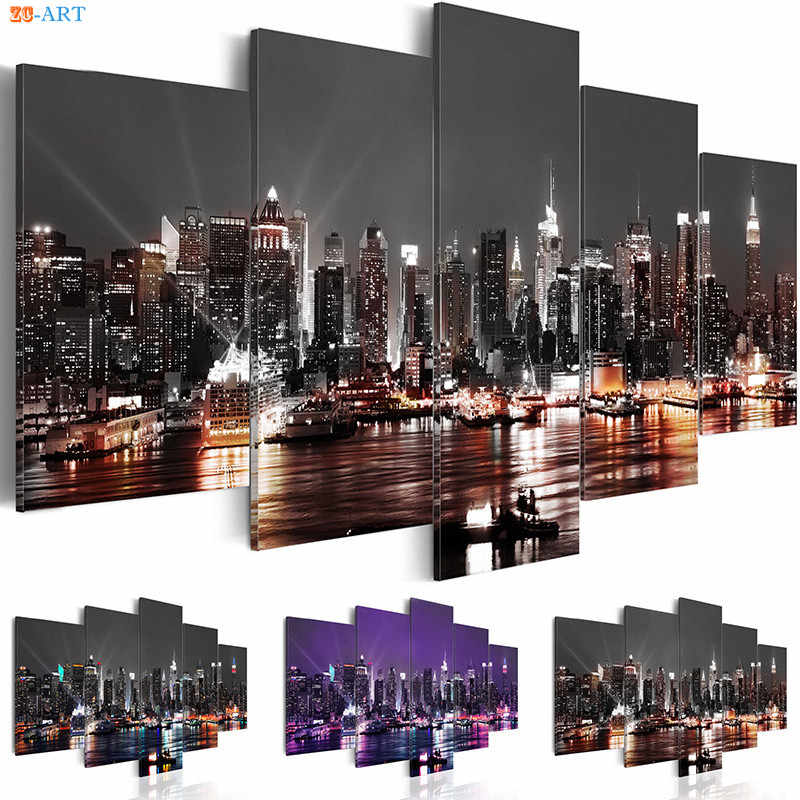 New York City Canvas Painting Scenery Print 5 Panel Canvas Art Night View Poster Modular Wall Pictures for Living Room