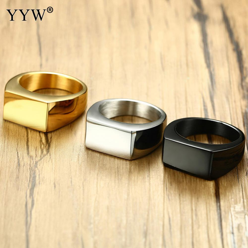 2019 Fashion Black Gold Silver Color Stainless Steel Mens Rings For Boy and Friendship Men Ring Simple Jewelry Male