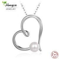 Hongye Moda 925 Ayar Gümüş Kolye Kadınlar için Beyaz Doğal İnci Kolye Kalp Şekli Güzel Hediye Takı