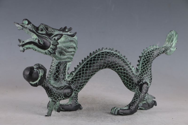 Statue de Dragon en Bronze exquis chinois