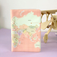 Brand Elegant Women Passport Cover World Map Waterproof Pvc Passport Holder Pink Travel Cute Passport Case passport bag wallet