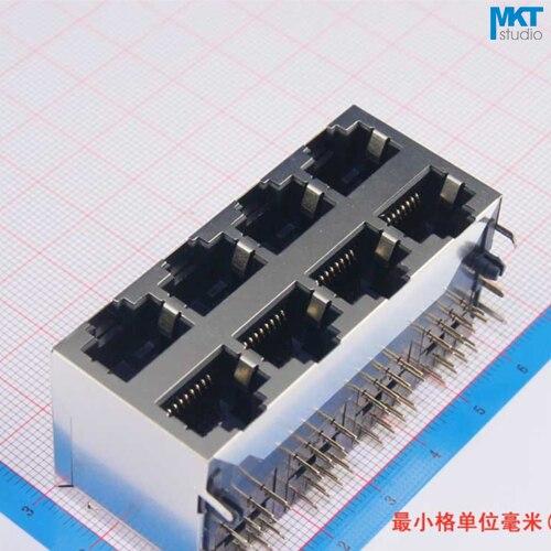 10Pcs Sample 2x4 Ports 59 Series Stack-up Female RJ45 Ethernet Network LAN PCB Socket Connector Jack