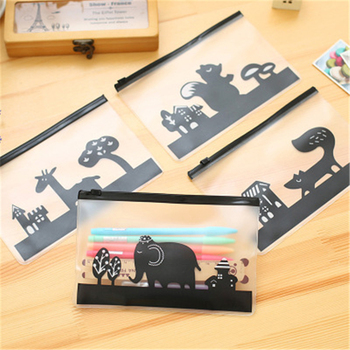 The lovely pony was translucent matte creative document bag zipper pencil debris bag pencil case stationery image