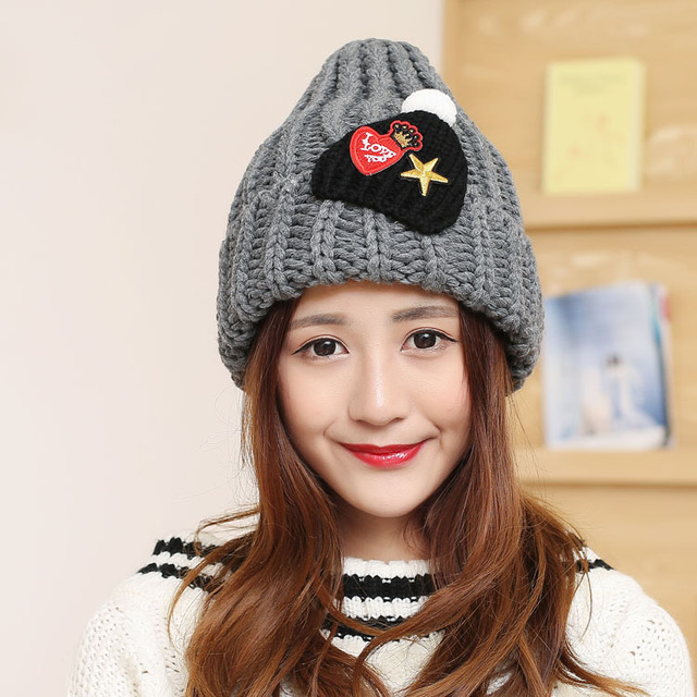Autumn and winter women five - pointed star flap wool hat Warm couple knit snowman hat
