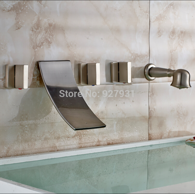 Wall Mounted Widespread Waterfall Bathtub Mixer Faucet Three Handles with Handheld Shower Brushed Nickel Finished