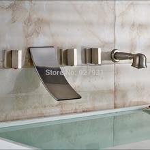 Настенные Широкое Водопад Ванной Смеситель Кран Три Ручки с Ручной Душ Матовый Никель Закончил