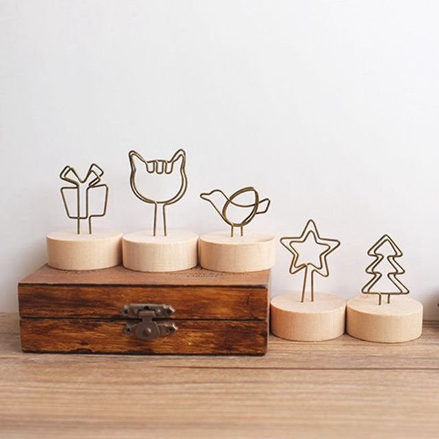 3 pcs/lot Wooden Stand Metal Wire Desk Card Note Memo Photo Clips ...