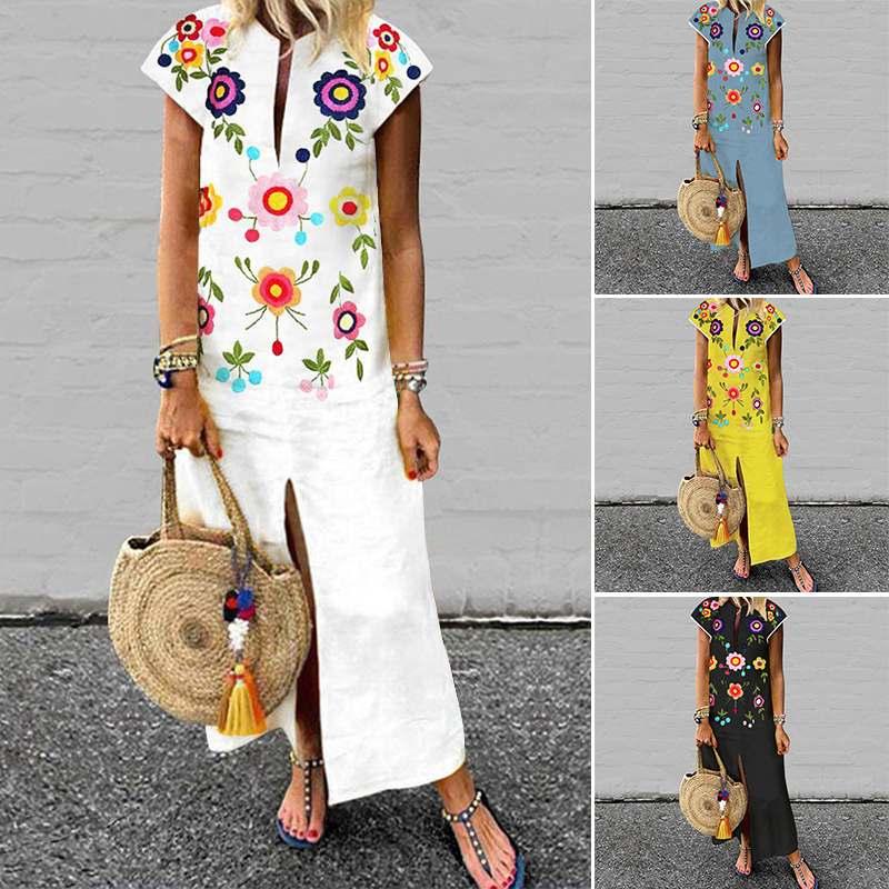 ZANZEA Summer Floral Printed Sundress Women's V Neck Short Sleeve Dress Female Beach Vestido Robe Femme Split Hem Dress Oversize