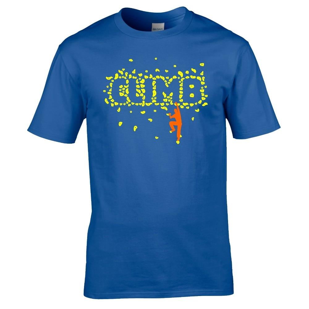 Очень Популярные Стиль футболка Для мужчин Slim Fit Хлопок высокого качества C L я м б Для мужчин рок альпинист лозунг установлены футболка