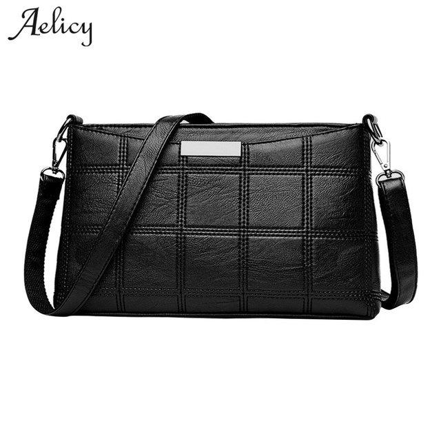 Aelicy Messenger Bag Women Handbag Cross body Leather Plaid New Fashion Woman Crossbody Bag Female PU Leather Sac a Main 1