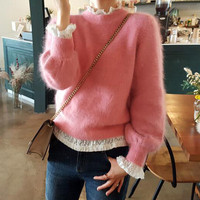 HAMALIEL Korean Autumn Winter Mink Cashmere Women Sweater Casual Pink Lantern Sleeve Knitted Soft Warm Pullovers Fashion Jumpers
