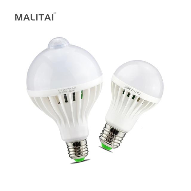 Smart 3 W 5 W 7 W 9 W 12 W E27 220 V Geluid/PIR Bewegingssensor LED lamp licht Inductie Lamp Trap Hal Night Emergency verlichting