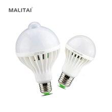 Smart 3 W 5 W 7 W 9 W 12 W E27 220 V Suono/PIR Sensore di movimento luce della lampada A LED Lampadina di Induzione Scale Corridoio Notte Di Emergenza illuminazione