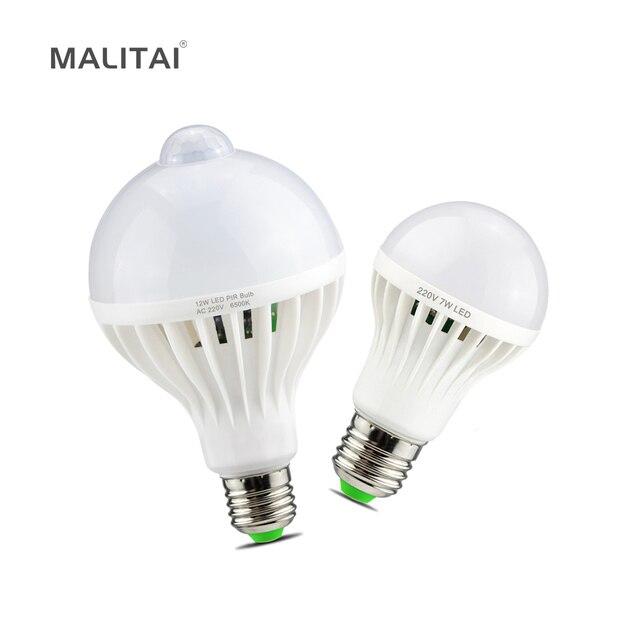 Smart 3W 5W 7W 9W 12W E27 220V dźwięk/PIR Motion Sensor lampka led indukcyjna żarówka schody przedpokój noc oświetlenie awaryjne