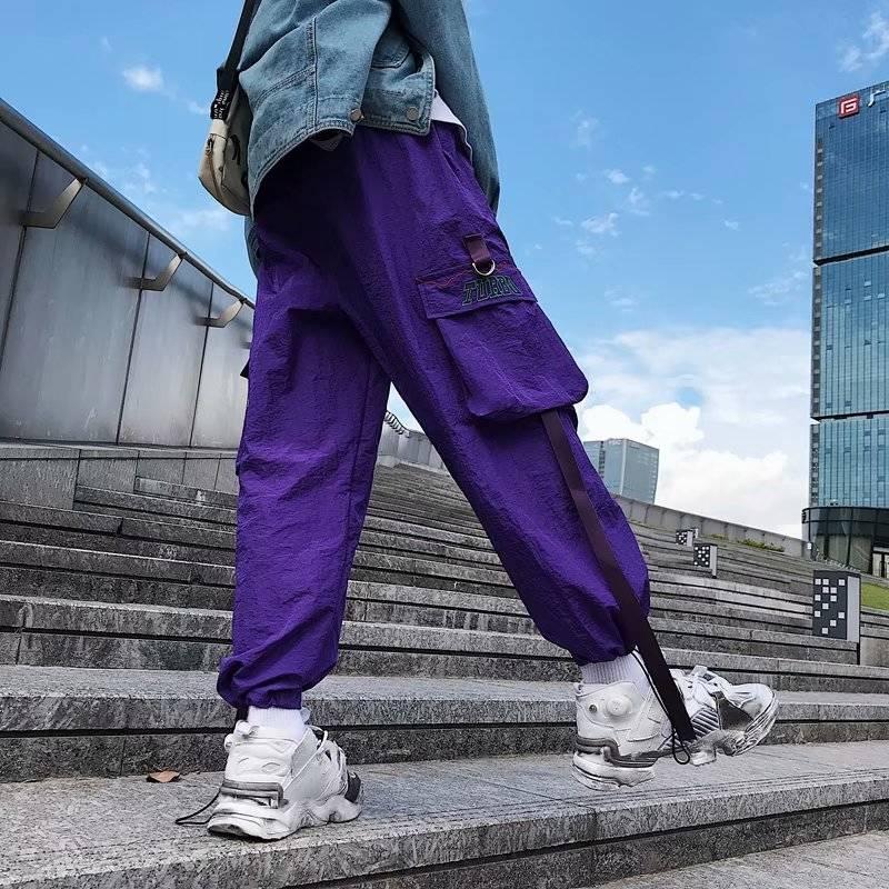 Occasionnels Hop Mens De Butin bleu Noir pu Cargo 2019 Poches Mode Joggeurs Tactique Harajuku Pantalon Cool Baggy Harem Ciel Hommes pourpre Streetwear Hip qO0wX
