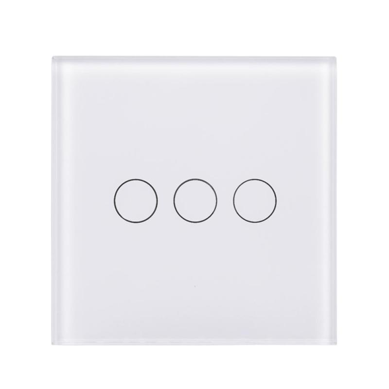 UK Standard Wifi 3 Gang Light Wall Luxury Crystal Touch Tempered Glass Panel Wireless Remote Control Switch for Smart House smart home uk standard crystal glass panel wireless remote control 1 gang 1 way wall touch switch screen light switch ac 220v