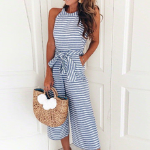 цены Sexy Striped Print Pocket Women Jumpsuit Bow Sashes Sleeveless Female Romper Summer Fashion Jumpsuits Casual Beach Rompers 2019