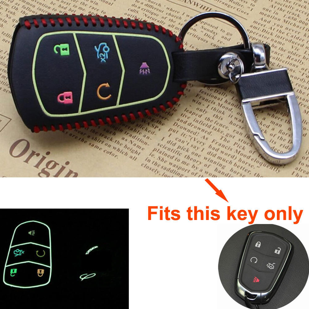 Bbq fuka night glow leather 5 buttons key cover case fob holder key shell fit
