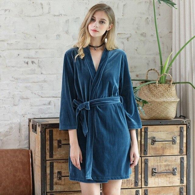 Online Shop Queenplus Winter Ladies Velour Robe Warm Bathrobe Short ...