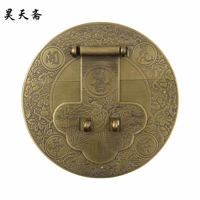 [Haotian vegetarian] antique copper box face page / box buckle / Chinese decoration accessories HTN-023 [haotian vegetarian chinese antique jewelry box] bronze fittings copper box buckle clasp tricolor htn 086