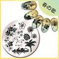 1 Unid 5.5 cm Hawaii Mar Ronda Nail Art Sello Placa de la Imagen de Alta Calidad Patrón de Plantilla Stamping JP17