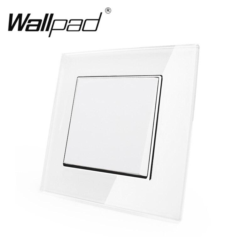 1 Gang Interruptor de Reset Wallpad 110-250 V Branco De Vidro De Luxo Estilo Europeu UE 1 Gang Redefinição Momentânea de Luz interruptor com Garras de Volta