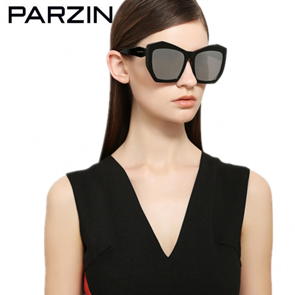 PARZIN Polarized Women Sunglasses HD Nylon Lenses Female Sun Glasses Ladies Driving Glasses Black With Case 9756